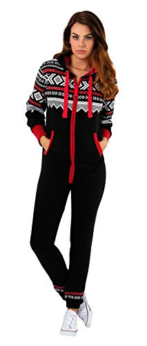 SKYLINEWEARS Womens Onesie Fashion Playsuit Ladies Jumpsuit Black Red-Stripe M -
