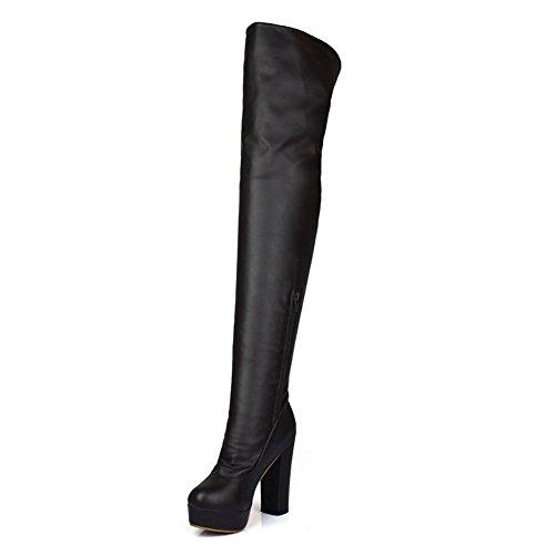 BalaMasa Womens High Heels Thigh High Brown Solid PU Thigh Boots - 10.5 B(M) US