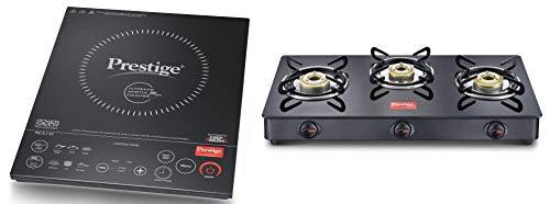 Prestige Induction Cooktop PIC 6.1 V7 + Prestige IRIS LPG Gas Stove, 3 Burner, Black