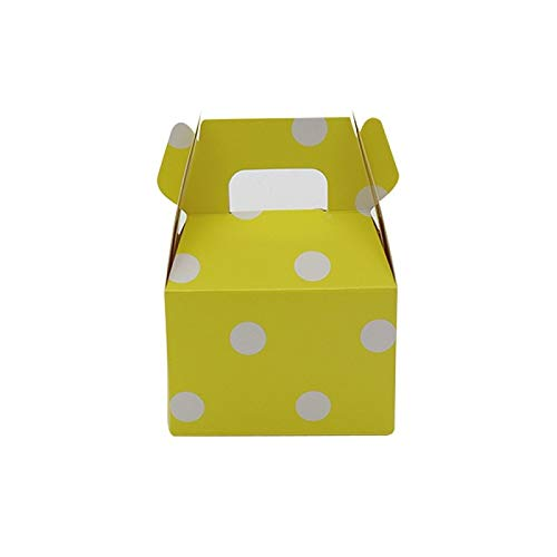 Gano Zen Paper Bag 12pcs Paper Bags with Handles Recyclable Paper Bags Rose Cake Wrapping Roses with Plastic Packaging Flower Packaging No.865 Yellow Polka dot ()