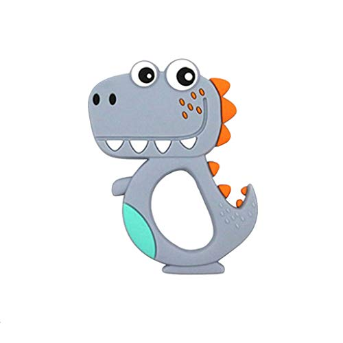 Binory Baby Dinosaur Teething Toys, Silicone Soother Pacifier Chewable Teether Pendant,100% BPA Free Infant Safe Easy to Hold,Best for Soothing Gums Freezer Cool 3-12 Months Newborn Shower Gift(Gray) (0 Interest On Purchases For 24 Months)
