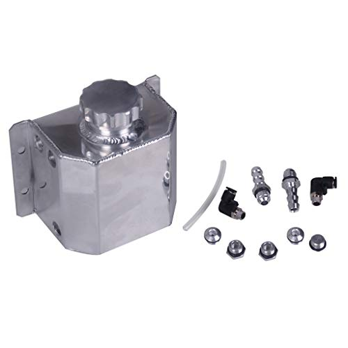 Universal Oil Catch Aluminium Engine Radiator Overflow Coolant Recovery Water Bottle Can Breather Tank Bottle Polished (Sliver)