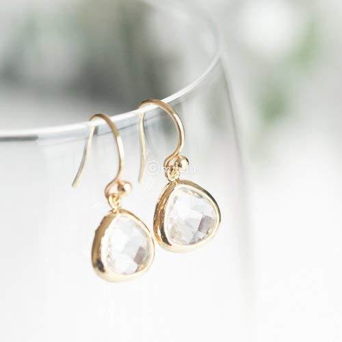 SHORT FACETED CLEAR GLASS CRYSTAL DROP EARRINGS GOLD PLATE MOUNTS /& HOOK EARWIRE