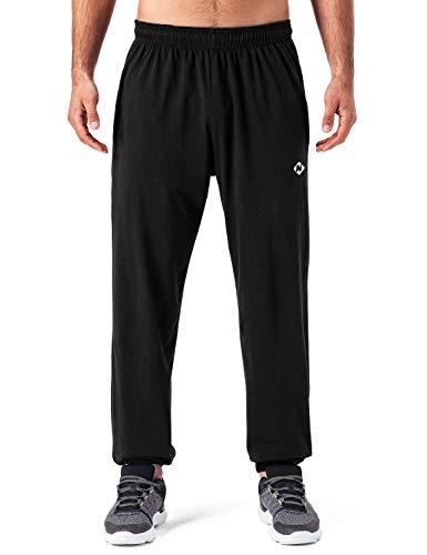 NAVISKIN Men's Light Weight Running Workout Pants Closed Bottom Jersey Sweatpant Black Size M ()