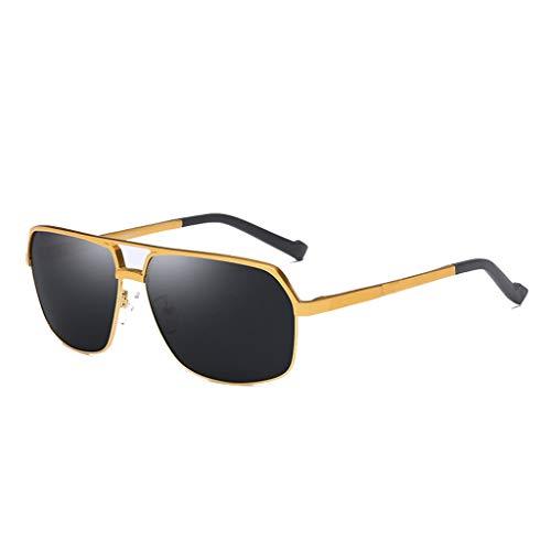 Gold Film Black Frame ZHAO magnesio Film y protección UV de polarizadas Gold con Frame Gafas de Sol YING Black Aluminio On0w76OHq