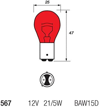 Off Set Pins 2 x 567 Red 12v 21//5w BAW15D Brake Stop /& Tail Car Light Bulb