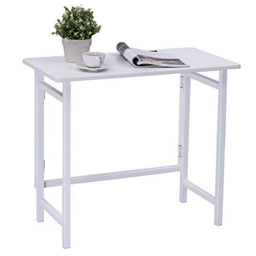 TANGKULA Folding Computer Desk, Simple Metal Frame Computer Desk Modern Home Office Laptop PC Workstation Compact Study Writing Reading Table for Small Space, Folding Table (White)