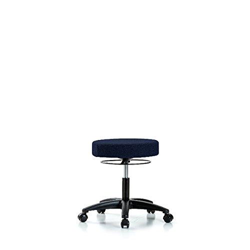 Fabric Desk Height Stool - Nylon Base, Casters, Navy Fabric