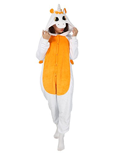 70's Leisure Suit Costume (Cosplay Animal Pajamas Sleepwear Adult Unisex Onesies Halloween Costume Unicorn (L (Height 170-180 cm), Orange Unicorn))