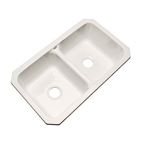 Dekor Sinks 50001UM Westport Double Bowl Undermount Cast Acrylic Kitchen Sink, 33