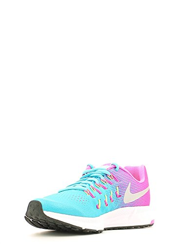 Nike Zoom Pegasus 33 (Gs), Zapatillas de Deporte Para Niñas Azul (Azul (Gamma Blue / Mtllc Slvr-Pnk Blst))
