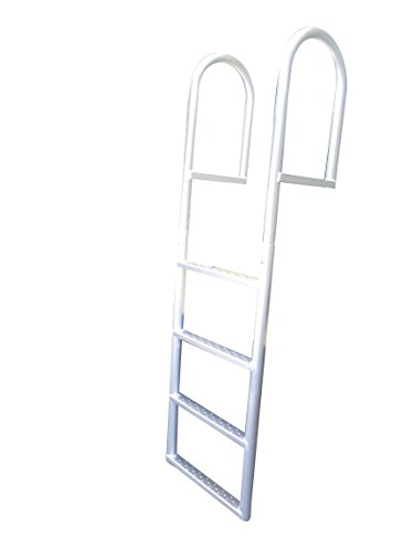 Pactrade Marine Stationary Fixed Dock Ladder Straight 4 Steps 21'' Wide for Seawalls Aluminum Capacity 750lbs