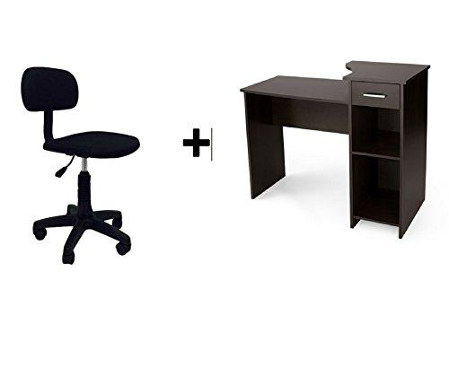Mainstays Student Desk Bundle Espresso and Task Chair Armless Espresso Mesh Seat