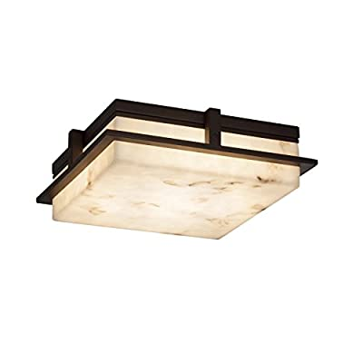 "Justice Design Group Lighting FAL-7569W-DBRZ Avalon Flush-Mount, L x 14"" W x 4"" H, Dark Bronze"