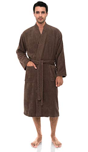TowelSelections Men's Robe, Turkish Cotton Terry Kimono Bathrobe Small/Medium Deep Taupe