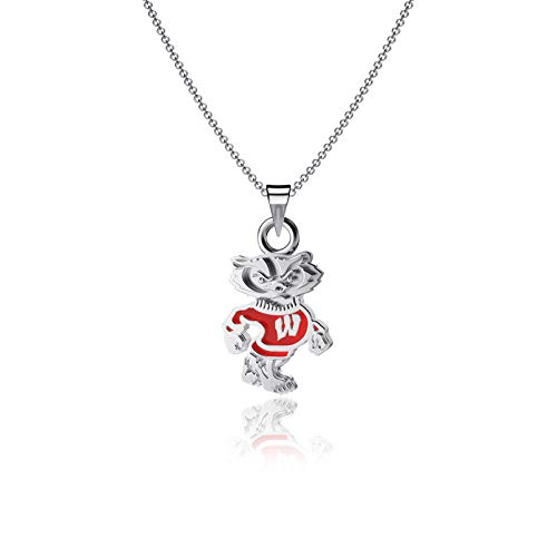 Dayna Designs University of Wisconsin Pendant Necklace - Enamel, Badger Logo - Sterling Silver Jewelry Small for Women/Girls