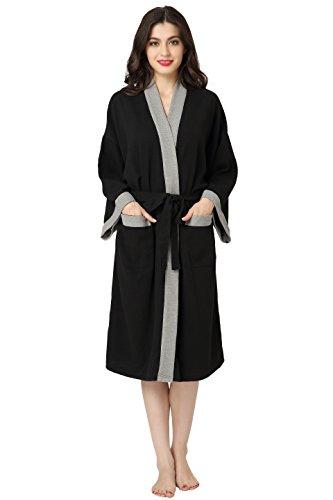 Aibrou Women and Men Waffle Weave Wrap Kimono Robe Kimono Spa Bathrobe Nightgowns,Black-grey,Medium