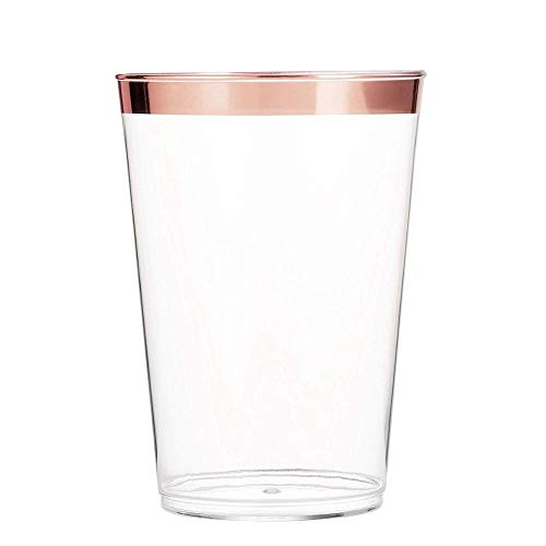 Rose Gold Plastic Cups 12oz 100pack Party Decorations Clear Plastic Cups with Rose Gold Rim Wedding Party Birthday Disposable Cups Heavyweight Plastic Tumblers Supplies Decor by PrimePosh