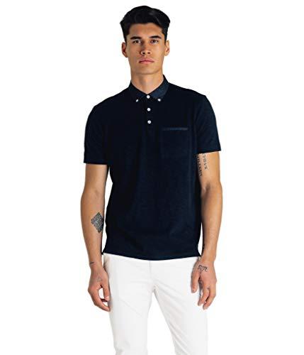 Good Man Brand Men's Soft Slub Jersey Polo, Sky Captain, L (Slub Jersey Polo)