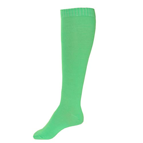 Pair of Womens Solid Blank Long Full Length Calf Socks Fashion Color Peds (Light Green)