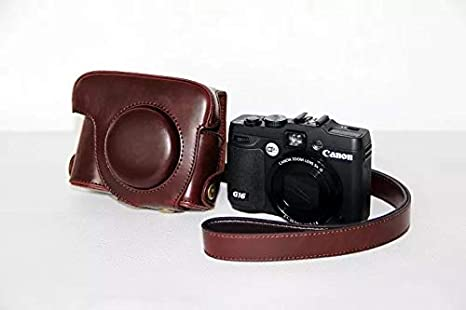 Color : Brown Pinyu PU Leather Digital Camera Case Bag Cover for Canon G16 G15 with Shoulder Strap,3 Colors for Choose,