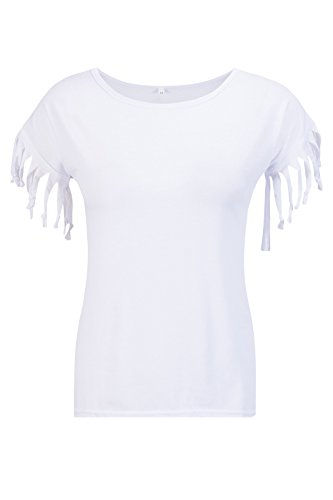 Beauty7 Camisetas Mujer Verano Borla Nudo Mangas Corta Cuello Redondo Funda Tank Color Puro Parte Superior Tops Tee Camisa Casual Blusa T Shirt Ocasional Blanco