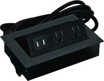 Hide-A-Dock Power/Data Station, 2 Grounded AC Outlets, 2 Charging USB Ports, Aluminum Housing, Black