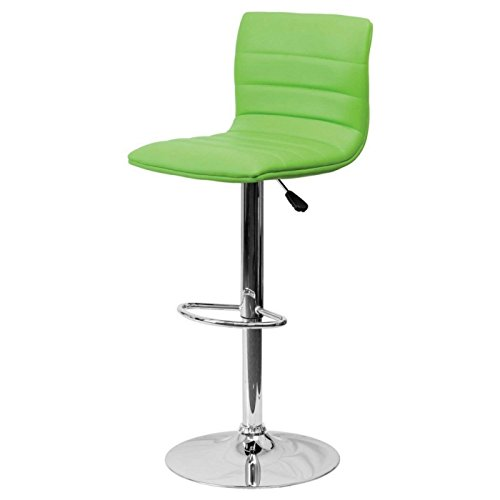 Express Swivel Adjustable Stool Height (Modern Barstools Horizontal Line Design Hydraulic Adjustable Height 360-Degree Swivel Seat Sturdy Steel Frame Chrome Base Drafting Dining Chair Bar Pub Stool Home Office Furniture - (1) Green #1980)