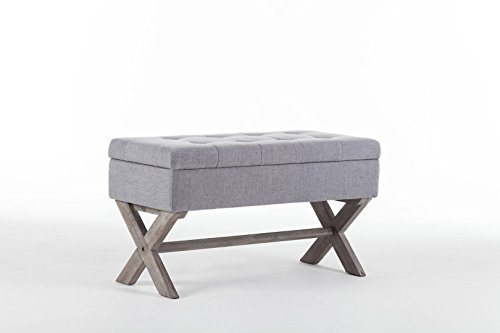 Boraam 85036 Angelina Upholstered Storage Bench, Grey