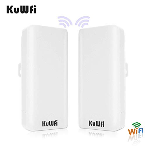 KuWFi 2-Pack 300Mbps Wireless Bridge CPE Kit,Indoor&Outdoor Point-to-Point Bridge/CPE Supports 2KM Transmission Distance Solution for PTP, PTMP Application (WDS)