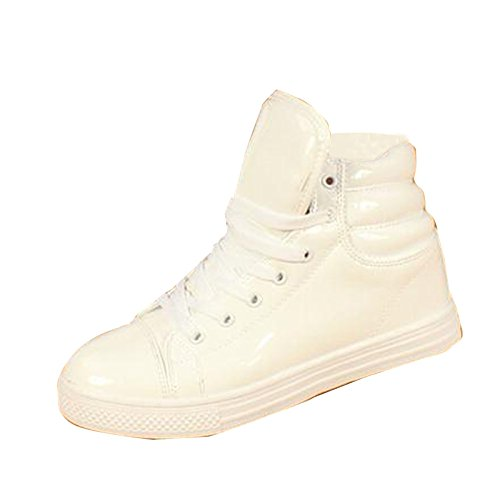 Sport White Patent Leather (New Women Men Shiny High Top Sport Shoe Waterproof Rain Boot Dance Sneaker Plus Size)