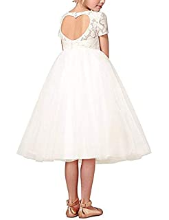iEFiEL Flower Girl Lace Dresses Kids Heart Back Communion Baptism Wedding Bridesmaid Party Dress