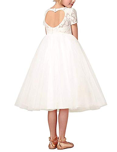 iEFiEL Big Girls Lace Leaf Heart Cutout Back Church Wedding Flower Girl Dress Bridesmaid Short Gown Ivory 2 ()