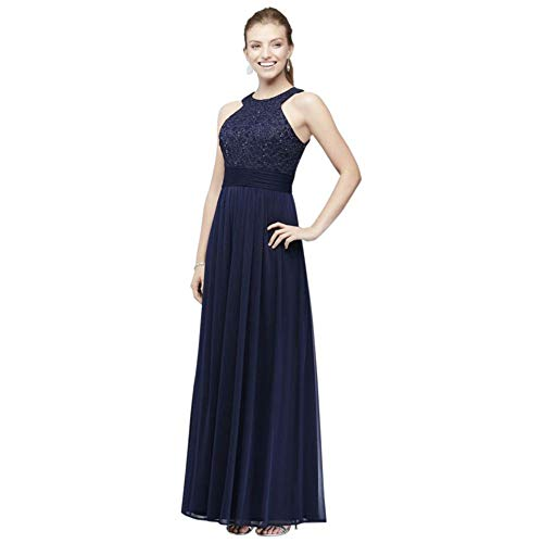 Fairy Tale Chiffon Dress (David's Bridal High-Neck Sequin Lace and Chiffon Bridesmaid Dress Style W60081, Navy,)