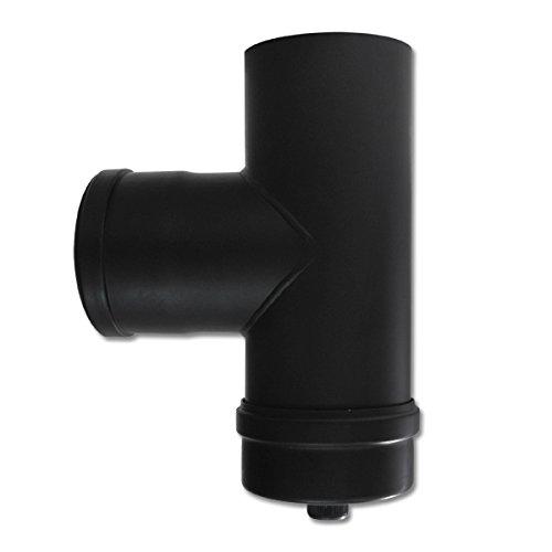 Pelletrohr T-Stück 80 x 250 mm Schwarz Kapselknie Rohr Ofenrohr Pellet