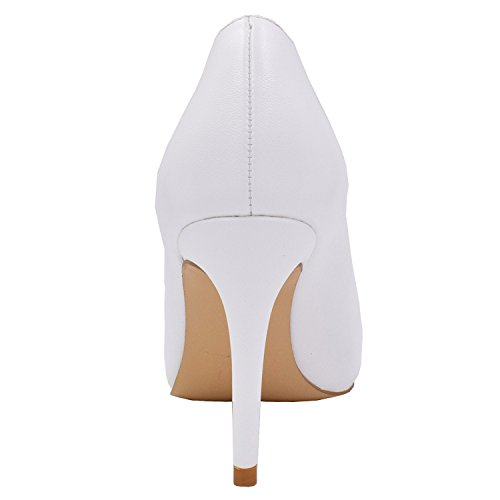 Womens Pointy Pumps On Shoes Lovirs Stiletto Office Slip Heel Basic For Pu Mid Party Dress Toe White zwwFdq