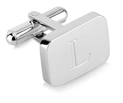 White-Gold Plated Monogram Initial Engraved Stainless Steel Man's Cufflinks With Gift Box -Personalized Alphabet Letter's By Lux & Pier (L- White Gold) by Lux & Pair (Image #1)