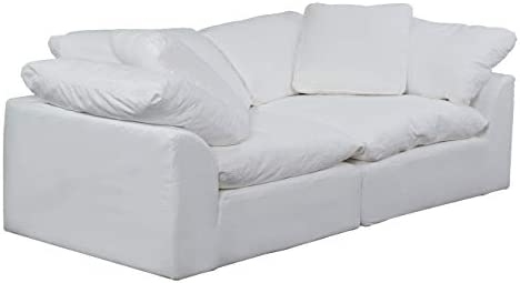 Sunset Trading Cloud Puff 2 Piece Modular Performance White Sectional Slipcovered Sofa