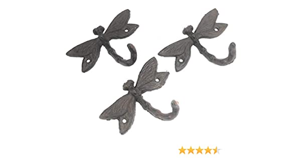 4 Cast Iron DRAGONFLY Towel Hooks Hat Rack Coat Hook Rustic Dragon Fly Double
