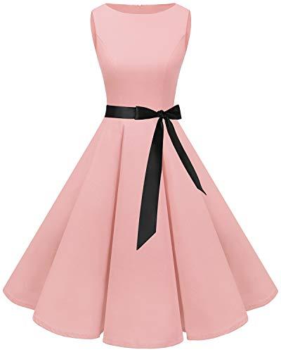 Bbonlinedress Women's 1950s Audrey Summer Vintage Rockabilly Swing Dress Blush S -