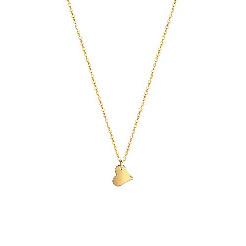Fremttly Womens Simple Delicate Handmade 14K Gold Filled Thin Heart Bar and Full Moon Layering Pendant Bead Chain Star Necklace-NK-Heart