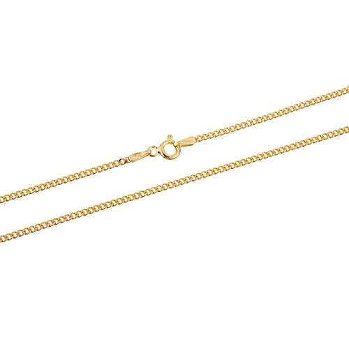 Gold Plated Sterling Silver Thin Cuban Curb Link Chain Necklace 1.8mm 18 inch