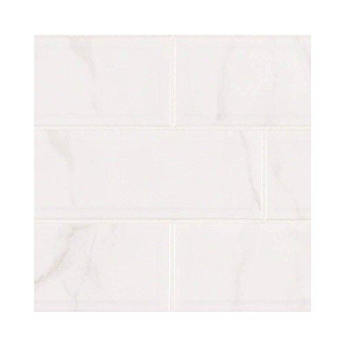 CLASSIQUE WHITE CARRARA TILE CERAMIC Beveled 4 in. X 16 in. 25 Pieces Per Box