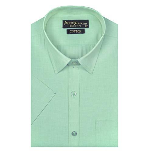 ACCOX Men's Half Sleeves Formal Regular Fit Cotton Plain Green Shirt(GO586)
