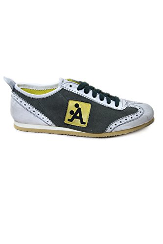 A-Style Canvas/Leather Sneakers Green 100% Made in Italy EU41