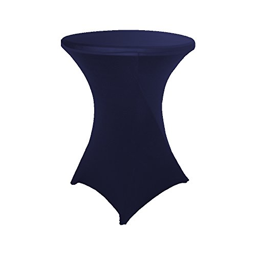 Haorui 30 inch Highboy Cocktail Round Fitted Stretch Spandex Table Cover Cloth for Party Wedding Navy Blue
