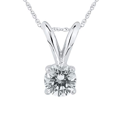 AGS Certified 1 4 Carat Round Diamond Solitaire Pendant in 14K White Gold K-L Color, I2-I3 Clarity
