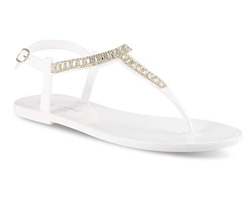 Twisted Women's Justina Rhinestone T-Strap Jelly Flat Sandal, JUSTINA04 White Size 9