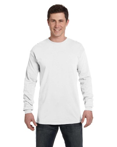 Comfort Colors Ringspun Garment-Dyed Long-Sleeve T-Shirt (C6014)- WHITE, 3XL