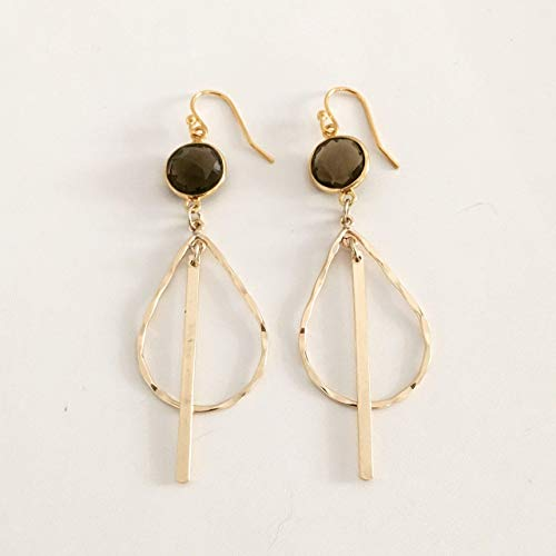 (Smoky Quartz Gold Filled Bar Teardrop Hoop Earrings Gift For Her Everyday Jewelry)